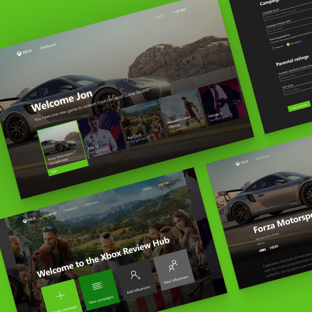 Xbox One digital hub UI design and development