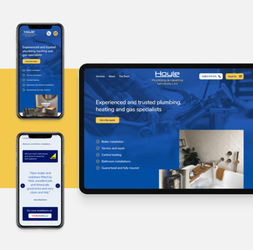 A fully responsive, modular web design and build for Hoyle Plumbing and Heating
