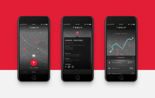 Tesla Charge Ahead mobile application visuals