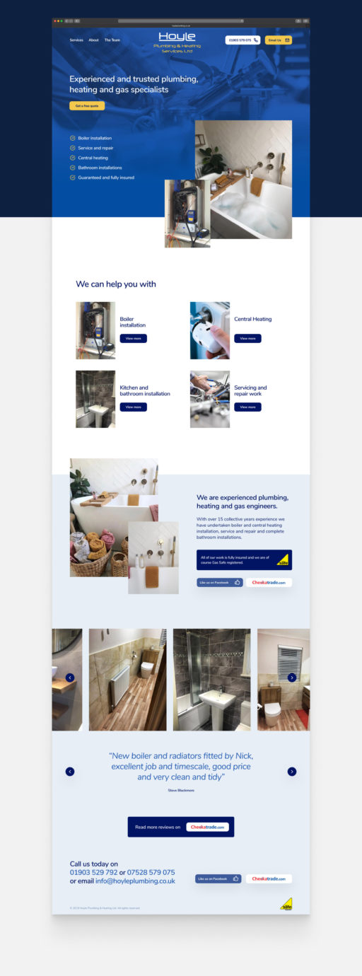 Hoyle Plumbing & Heating web design and build